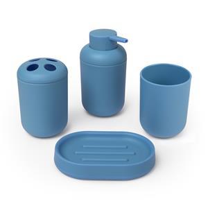 Conjunto accesorios baño : Jabonera, dispensador jabón, vaso y soporte cepillos de dientes