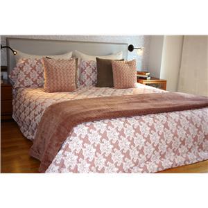 Juego de sábanas estampado ornamental rosa algodón 100% 2 piezas
