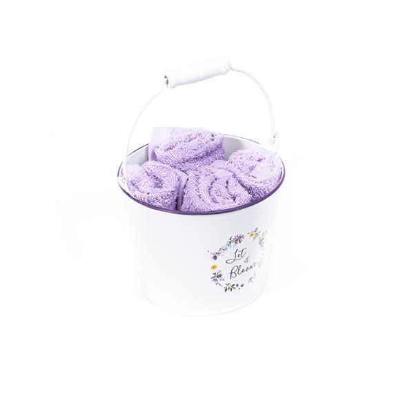 toalla cortesía lila, toalla lavabo cortesía