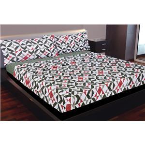 Juego de sábanas estampado geométrico gris y roja