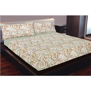 Juego de sábanas estampado geométrico multicolor algodón 100%