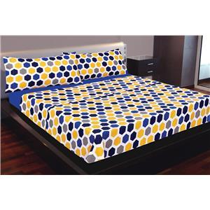 Juego de sábanas estampado geométrico azul, amarillo y gris 2 piezas