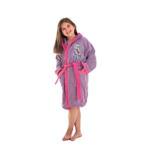 Albornoz infantil o juvenil lila bordado con capucha
