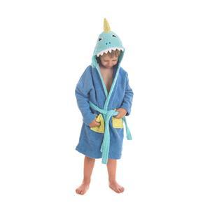 Albornoz infantil tiburón bordado con capucha
