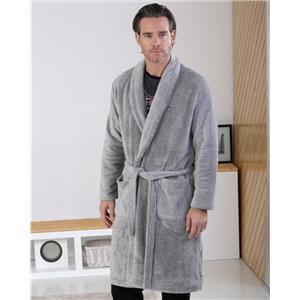 Bata hombre gris tacto seda o visón Invierno