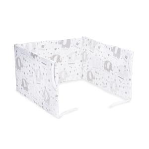 Protector baranda de cuna desenfundable algodón 100% gris