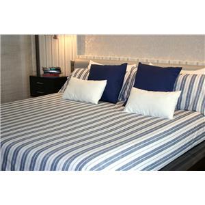 Juego de sábanas estampado rayas azules algodón 100% 2 piezas