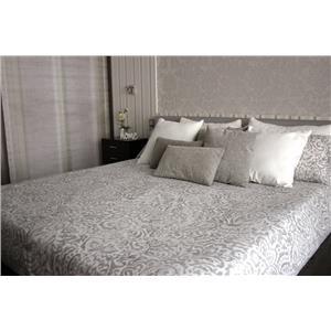 Juego de sábanas estampado ornamental gris algodón 100% 2 piezas
