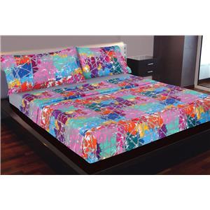 Juego de sábanas estampado juvenil geométrico de colores