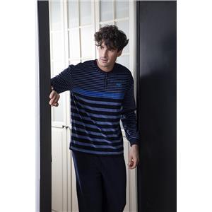 Pijama hombre rayado azul invierno terciopelo punto milano