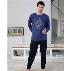 Pijama hombre azul invierno Algodón 100%