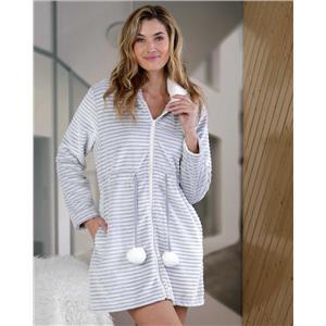 Bata mujer invierno gris tacto seda o visón homewear con cremallera