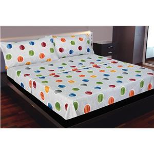 Juego de sábanas estampado geométrico topos de colores