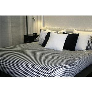 Juego de sábanas estampado geométrico blanco y negro 2 piezas