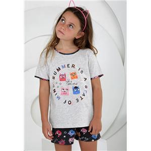Pijama niña gris verano Algodón 100%