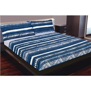 Juego de sábanas estampado étnico azul