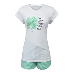 Pijama mujer blanco y verde verano