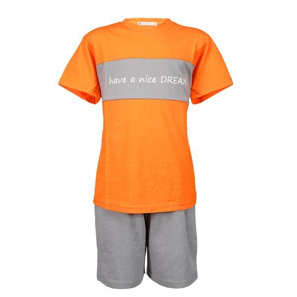 pijama infantil manga corta, pijama naranja chico,pijama naranja niño