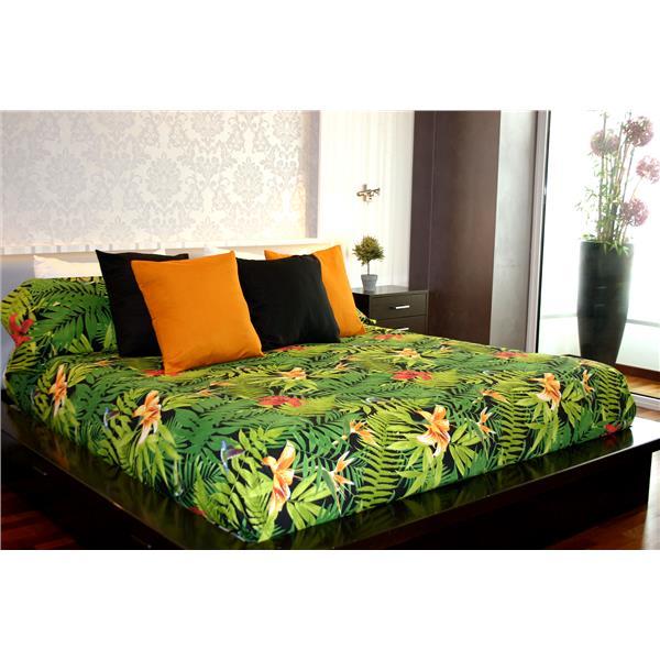 sábana floral, sábana hojas verdes, sábana tropical, sábana estilo tropical