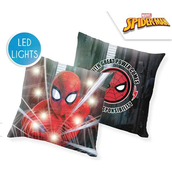 cojín con luz spiderman, cojín led spiderman, cojín decoración spiderman