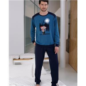 Pijama hombre azul invierno