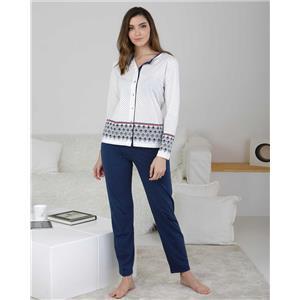 Pijama mujer abierto azul invierno