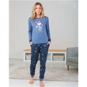 Pijama mujer azul invierno Algodón 100%