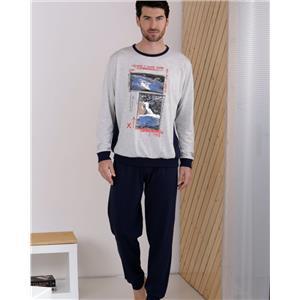 Pijama hombre gris invierno