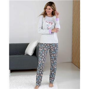 Pijama mujer gris y lila invierno
