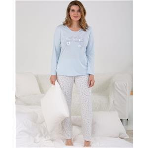 Pijama mujer celeste invierno Algodón orgánico100%