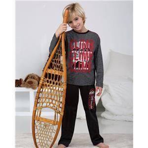 Pijama niño gris invierno algodón 100%