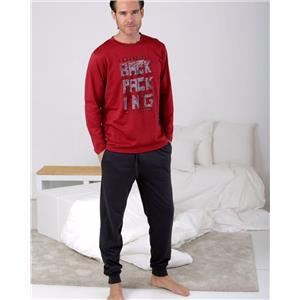 Pijama hombre granate invierno Algodón 100%