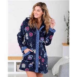 Bata mujer invierno azul tacto seda o visón homewear con botones