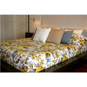 Funda nórdica estampado flores amarillas algodón 100% 2 piezas