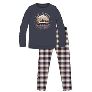 Pijama hombre azul invierno franela Algodón 100%