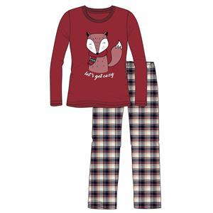 Pijama mujer o chica granate zorro invierno franela Algodón 100%