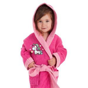 Albornoz infantil unicornio bordado con capucha