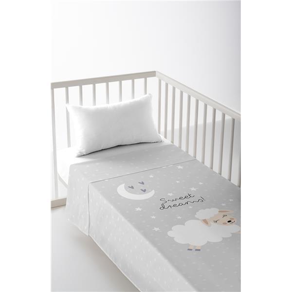 sábana cuna, sábana de bebé gris, sábana estampada bebé, sábana algodón bebé